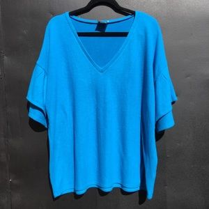 anthropologie h by bordeaux ruffle sleeve v-neck